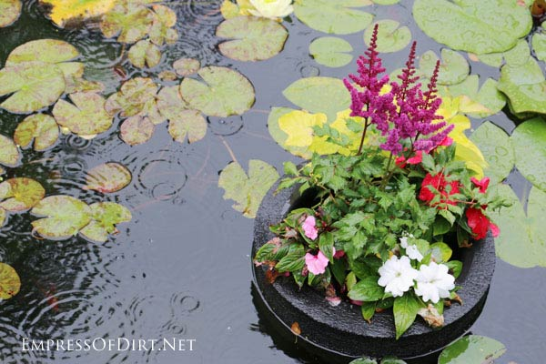 Homemade floating pond planters or mini islands are a lovely way to add pops of colourful flowers to your garden pond. You can also use them to sail garden art or candles. They are very pretty on a summer evening.