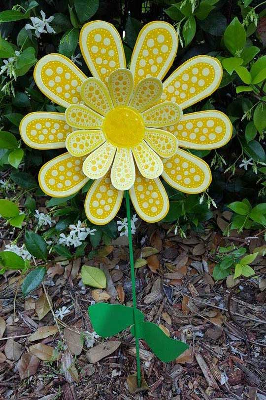 Yellow metal flower by FlowerPowerShowers on Etsy