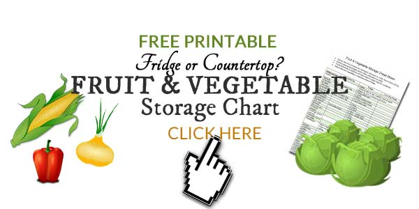 How long can you store fresh fruits and vegetables? And what is the best way to store them? This free, printable chart shows you when to store fresh fruits and vegetables on the countertop and when they need to go in the fridge so you can reduce food waste.