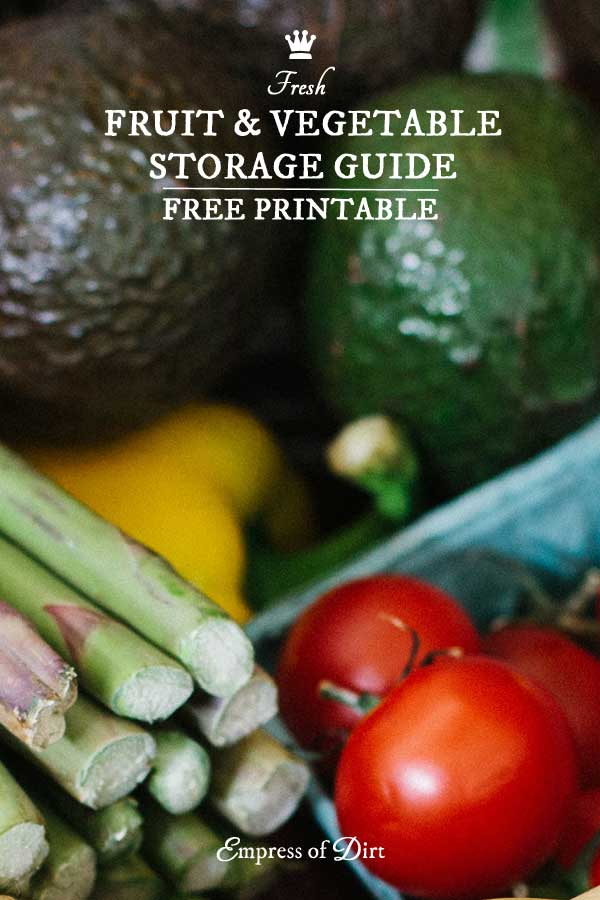 Free guide for storing fresh fruit and vegetables on the counter or fridge to avoid food waste.