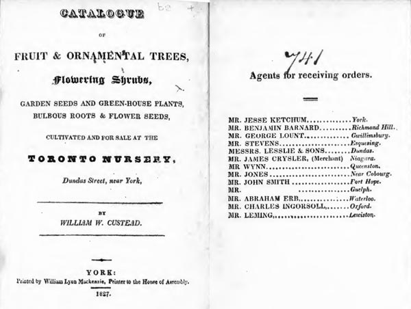 Catalogue of Fruit & Ornamental Trees, Flowering Shrubs, Garden Seeds and Green-House Plants, Bulbous Roots & Flower Seeds by William W. Custead