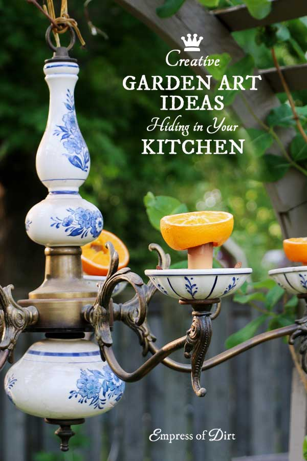If you have a bunch of kitchen items sitting in your cupboards that you never use, why not give them a new life as garden art and decor? Here's 20 simple ideas to make your garden unique.