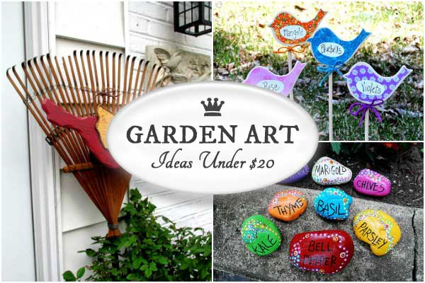 12 More Garden Art Projects Under $20 - crafty ways to make your garden unique.