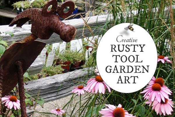 Garden Art Made From Old Tools