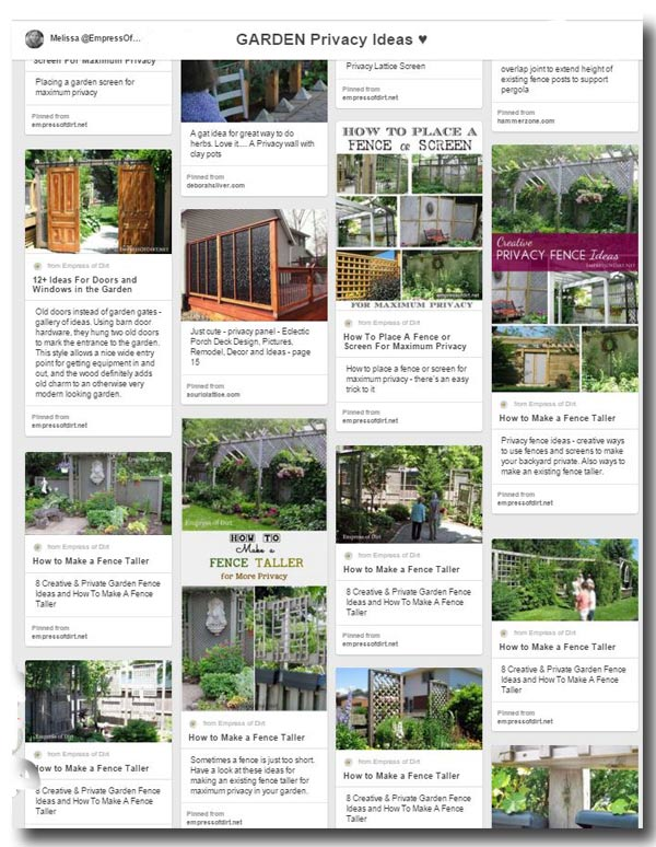 Garden Privacy ideas using fences, screens, and living plants on Pinterest curated by Empress of Dirt