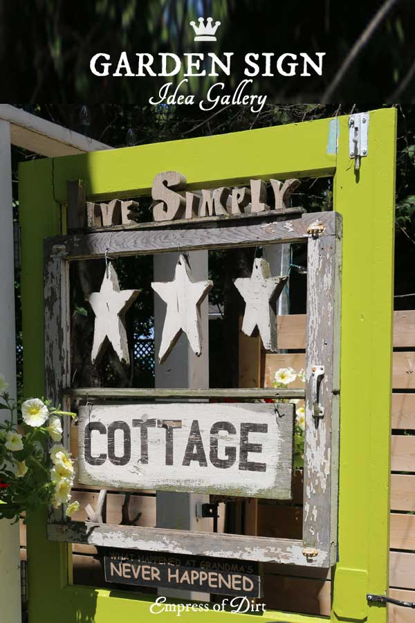 An idea gallery showing creative garden art and signs for your outdoor space.