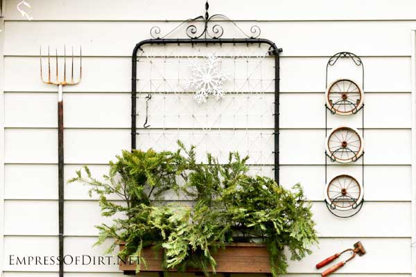 Old metal garden gate mounted on shed wall with garden tools.