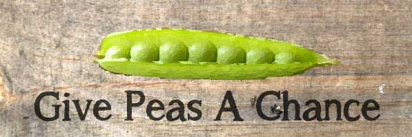 Give peas a chance garden sign.
