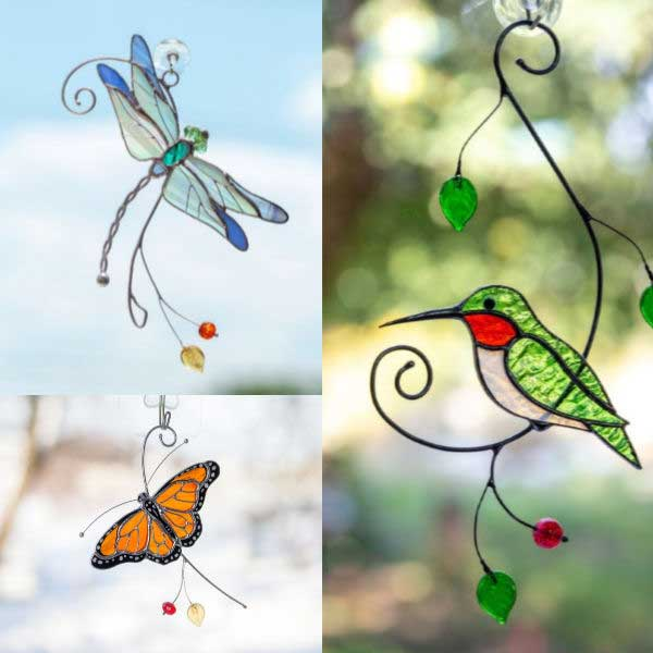 Garden-inspired stain glass ornaments.