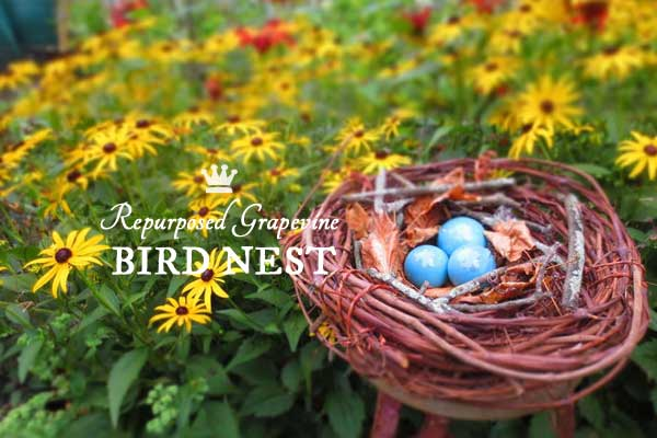 Grape Vine Wreath Becomes Garden Art Bird Nest