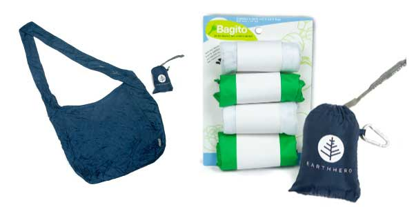 Examples of lightweight grocery bags for bulky items and produce.