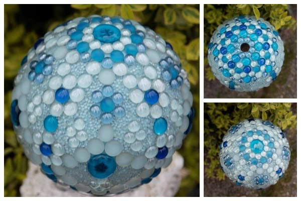 Blue Frost garden art gazing ball by Karen Weigert Enos