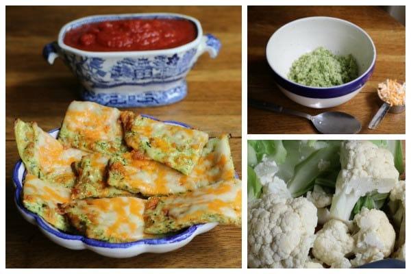 Cheesy keto breadsticks and chopped zucchini and cauliflower.