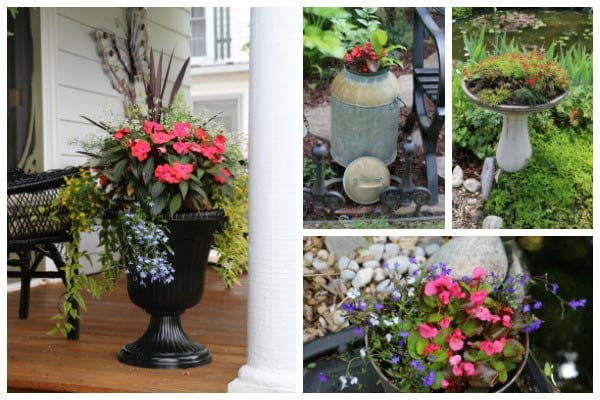 22 Flower Container with beautiful plant combinations.