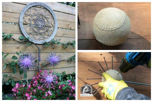 How to make garden art allium flowers from thrift shop finds.
