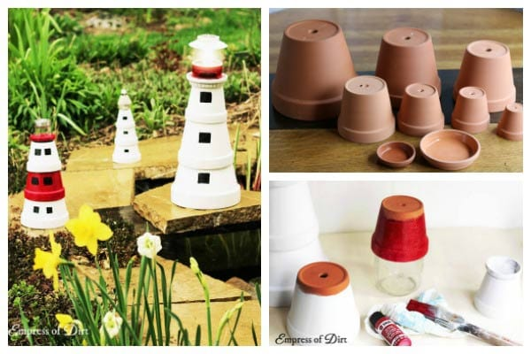 Supplies for making garden art lighthouses from flower pots.