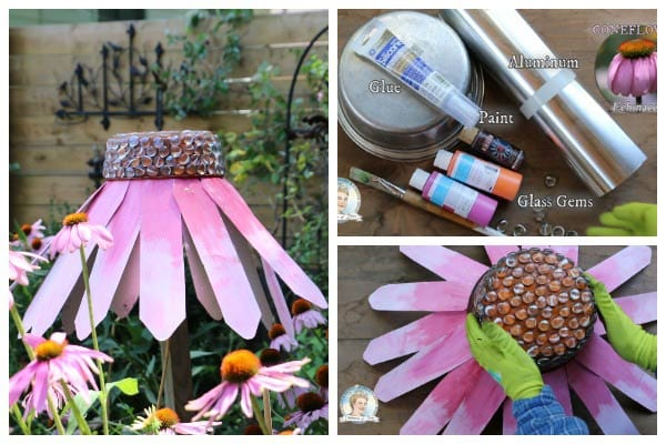 How to make giant garden art coneflowers for your garden.