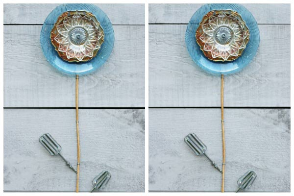 DIY Kitchen Dish and Cutlery Garden Art Flowers