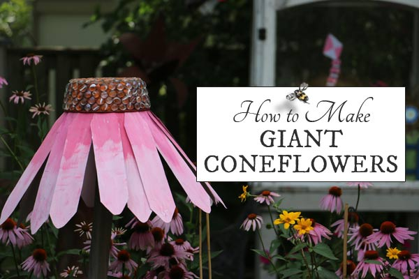 DIY Giant coneflower garden art