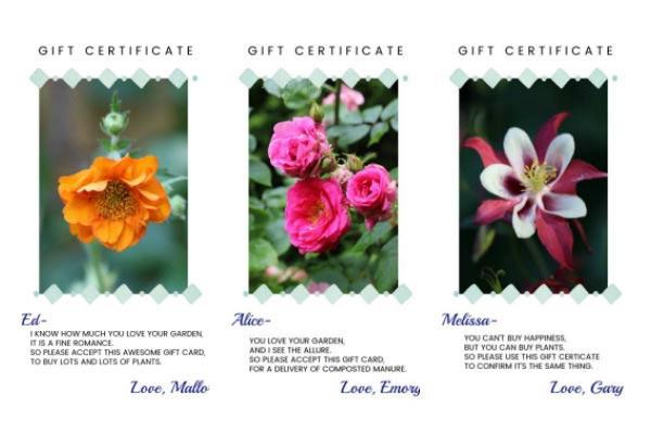 Free printable gift certificates for your favorite gardener.