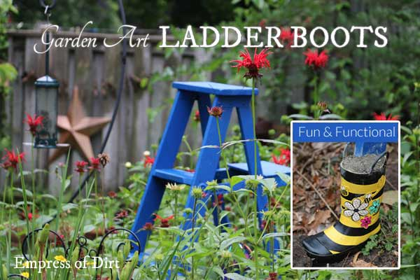 Protect your garden art ladder with rain boots.