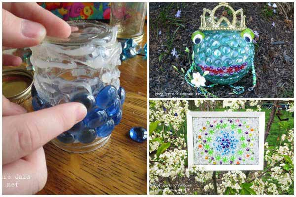 Creative garden craft projects using glass garden gems from the dollar store.