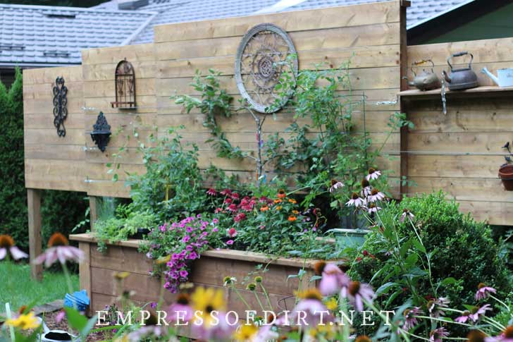 Raised garden bed with built-in privacy wall, filled with plants.