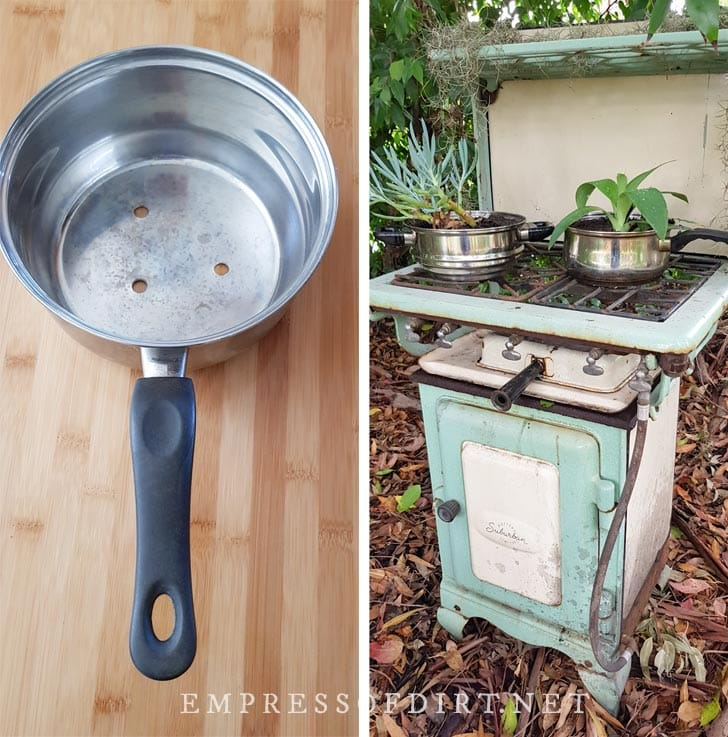 Old cookstove turned into a garden planter.