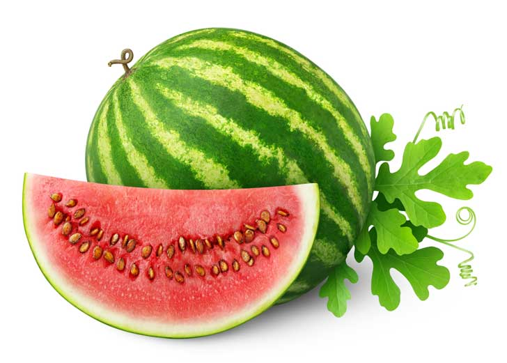 Watermelon fruit and slice of watermelon.