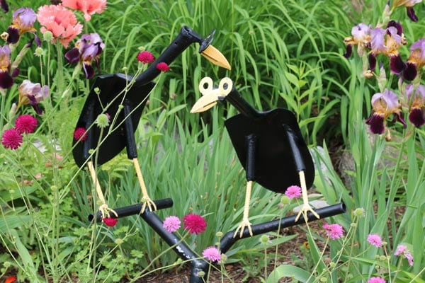 Creative garden art made from old tools.