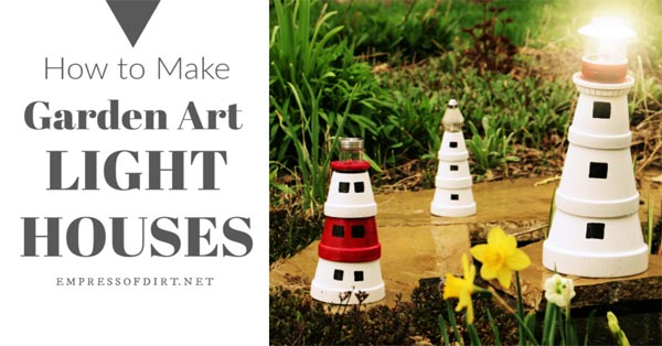 Garden art lighthouses made from flower pots.