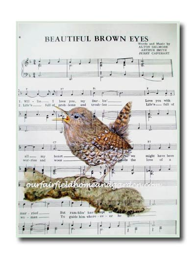Hand-painted watercolor wren print by Barb Rosen