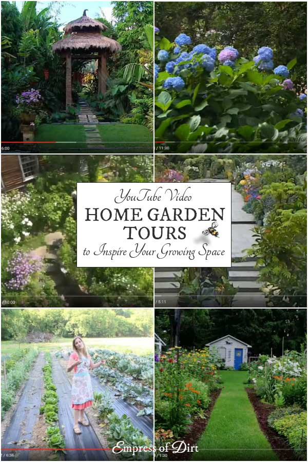 These home garden tours from YouTube feature a variety of gardens including kitchen garden for growing herbs and veggies in small spaces to overflowing flower gardens with brilliant colours and textures. Have a look and see which ones you like best. And grab the best ideas for your growing space.