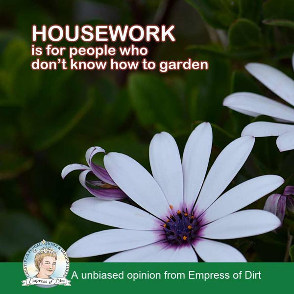 Housework is for people who don't know how to garden.