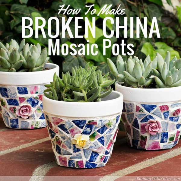 How to make moasic garden pots by Carrie at kenarry.com