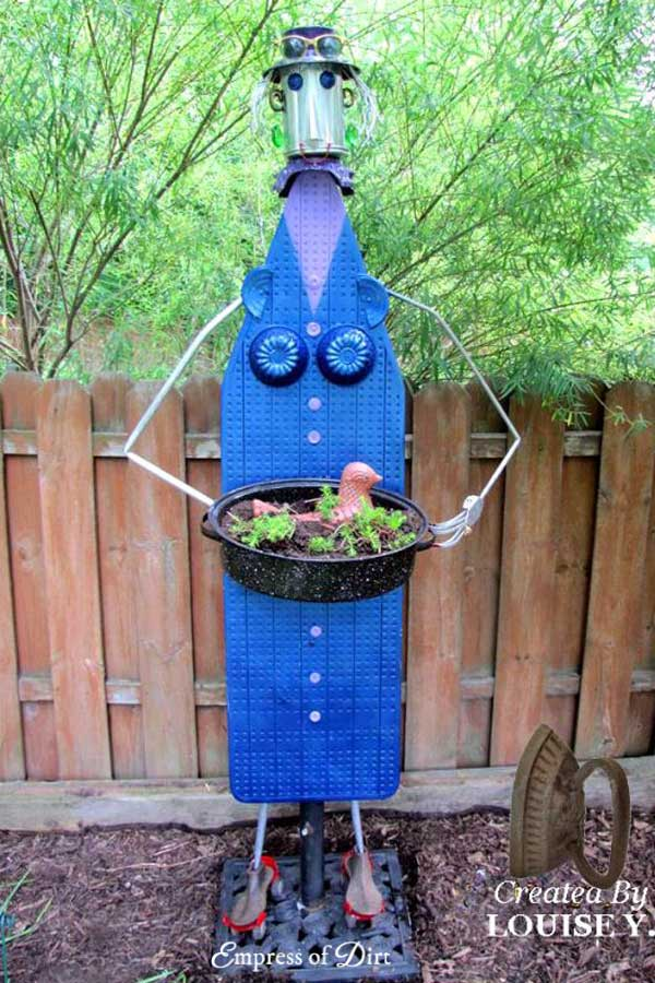 Creative garden art lady made from an ironing board