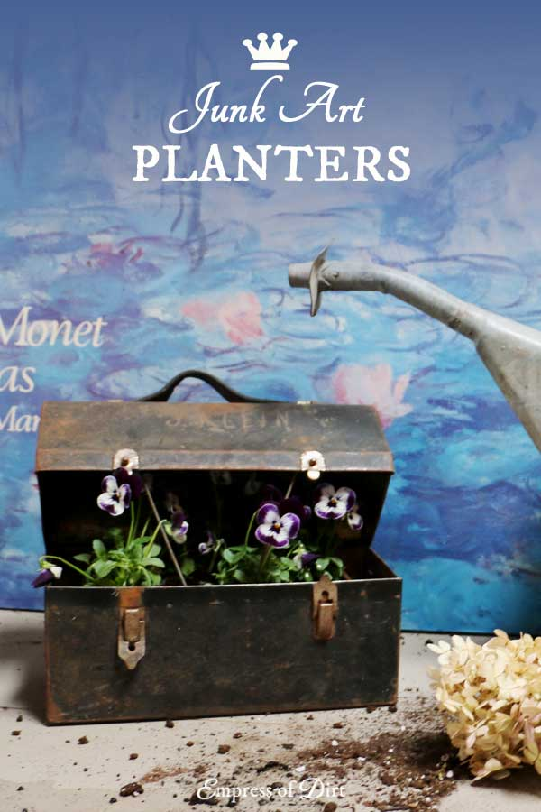 How to make junk garden planters - turn junk shop finds into beautiful flower containers