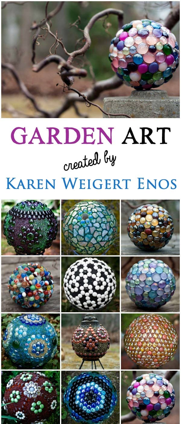 Garden art orbs created by Karen Weigert Enos