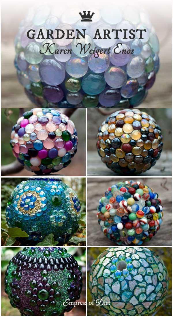 Decorative garden art balls by Karen Weigert Enos