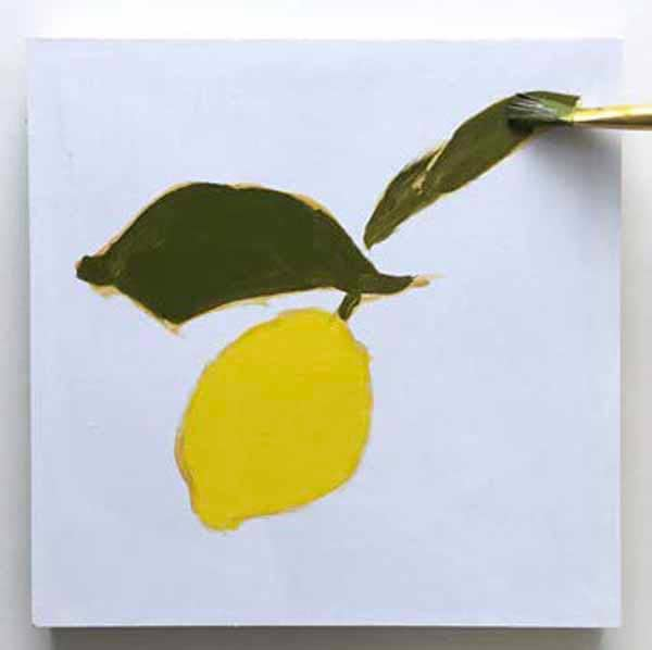 Filling in the lemon and leaves with paint. From the book, Learn to Paint in Acrylics with 50 More Small Paintings