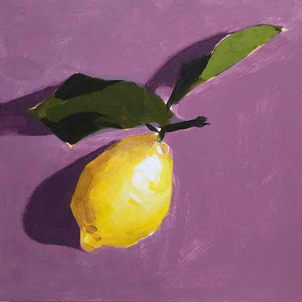 Lemon and leaves painting from the book, Learn to Paint in Acrylics with 50 More Small Paintings