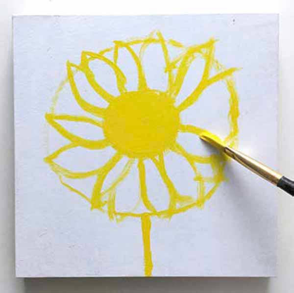Adding yellow paint to the daisy. From the book, Learn to Paint in Acrylics with 50 More Small Paintings