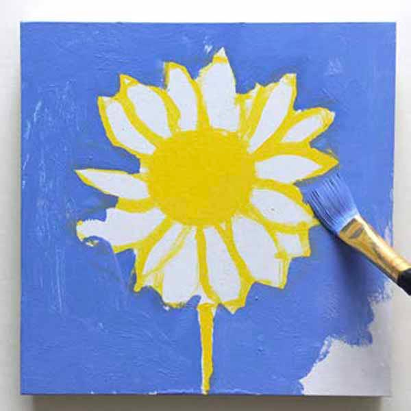Painting the blue background. From the book, Learn to Paint in Acrylics with 50 More Small Paintings