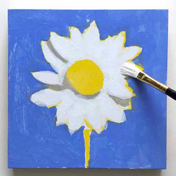 Painting shadows. From the book, Learn to Paint in Acrylics with 50 More Small Paintings