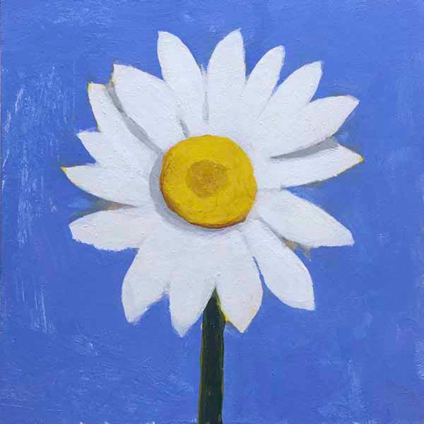 Small daisy painting from the book, Learn to Paint in Acrylics with 50 More Small Paintings