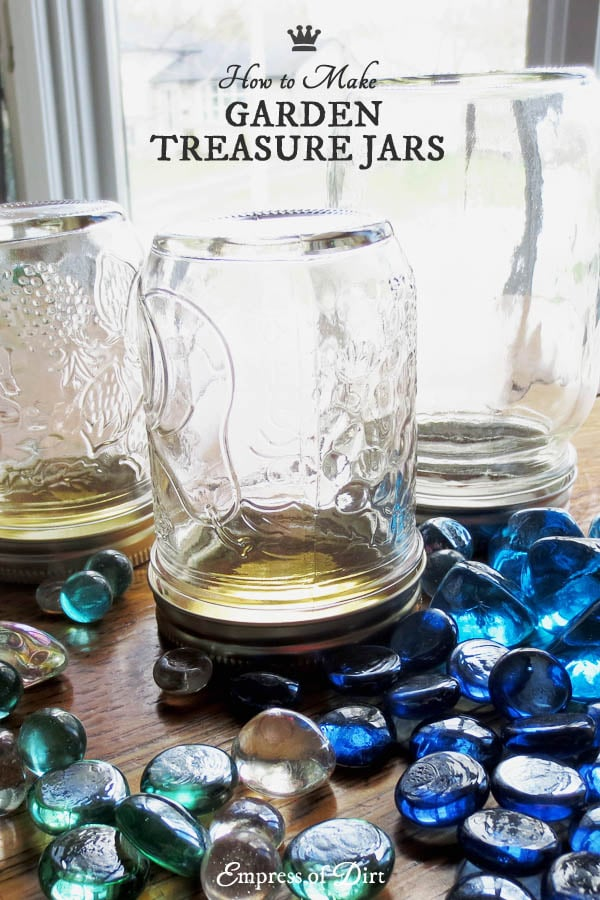 Turn old jars into magical garden treasure jars with this simple, frugal project.