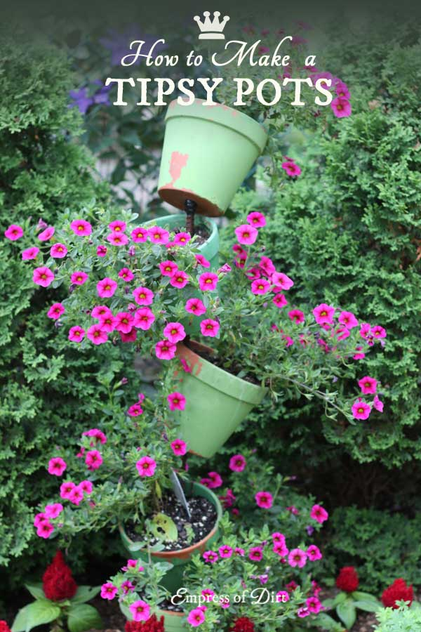 Tipsy pots, also known as topsy turvy planters, are easy to make once you know the trick.