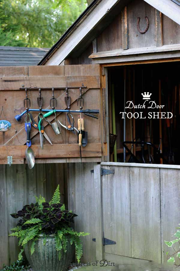Add a Dutch door to a tool shed for easy access while working in the garden.
