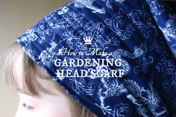 This headscarf is an essential garden tool on hot, sweaty days. It's made from a ready-made bandana scarf and the small amount of sewing required could be done by hand or machine.