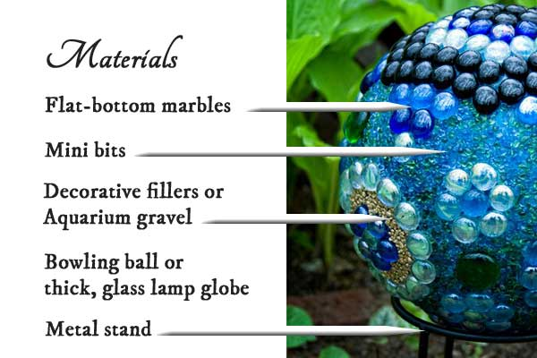 Materials for making decorative garden art balls or globes